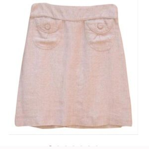 Anthropologie Elevenses Blush Linen A Line Skirt